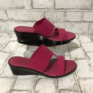 Damiani's Pink Natural Slide On Wedge Size 7M